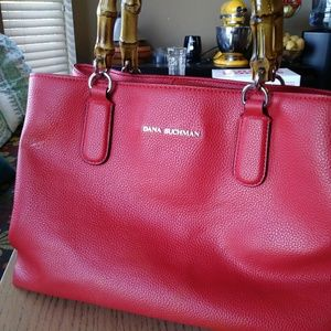 Dana Buchman coral satchel purse w bamboo handle